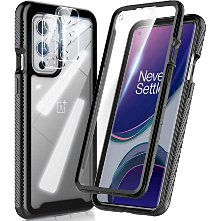 HATOSHI OnePlus 9 6.5-inch Case with Built in Screen Protector [NOT for OnePlus 9 Pro 6.7-inch], with 2 Pack Camera Lens Protector, 5X Military-Grade Shockproof Rugged Rubber Phone Case Cover, Black