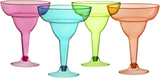 Plastic Margarita Glasses Cups | 36 Pack | Disposable Cinco De Mayo Cup | Fiesta Taco Party Supplies | Neon Cocktail Cups | Mexican Theme for Carnivals Festivals | Dia De Muertos, | 12 Oz