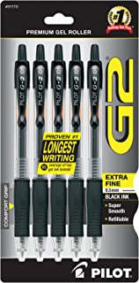 PILOT G2 Premium Refillable & Retractable Rolling Ball Gel Pens, Extra Fine Point, Black Ink, 5-Pack (31173)