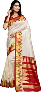 Applecreation Women's Kanchipuram Cotton Silk Saree With Un-stitched Blouse (bhagalpuri sarees 7PJ5009_Off-White)