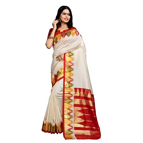 a7692e52180a82 Applecreation Women's Silk Cotton Saree With Blouse Piece (Bhagalpuri Sarees  7Pj5009_Off-White_Free Size)