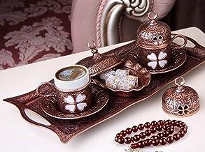 طقم تقديم قهوة إسبرسو عربي تركي فاخر لـ 2 كوب أغطية صحون، طبق سكر مبهج 11 قطعة (بني عتيق)