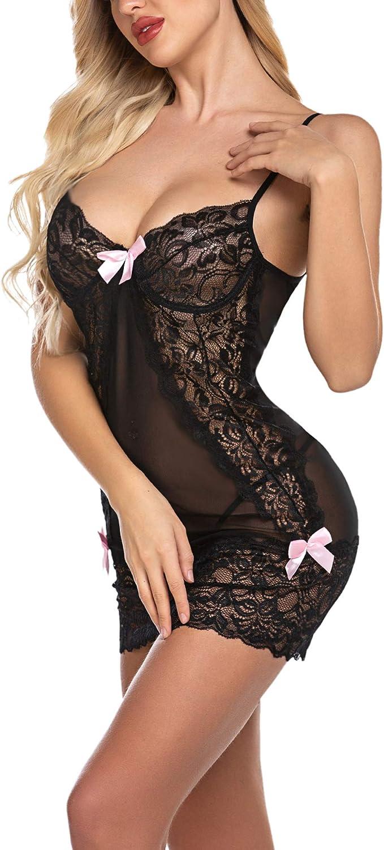 ADOME Women Lingerie Lace Babydoll Halter Chemise Strappy Teddy Mini Sleepwear Nightdress