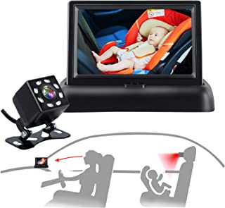 Baby-Car-Mirror-Car-Baby-Camera-Monitor - Safety Car Seat Mirror Camera with 4.3'' HD, Wide Crystal Clear View, Night Visi...