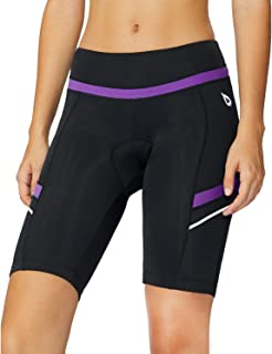 Womens Bike Shorts with Padded Wide Waistband UPF 50+ for Cycling, Spinning, Road Bike