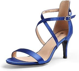 Women's Alva Cross Strappy Sandals Heels 3 Inch Open Toe Ankle Strap Wedding Party Dress Heeled Shoes