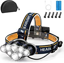 Rechargeable Headlamp, 8 LED Headlamp Flashlight 18000 Lumen 8 Modes with White Red Lights USB Cable 2 Batteries, Waterpro...