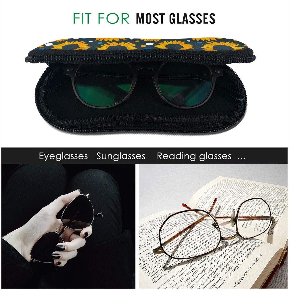 Sunflowers Painting Sunglasses Soft Case Ultra Light Neoprene Zipper Eyeglass Case With Key Chain