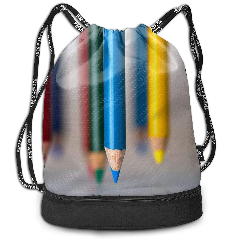 Gymsack colorful Pencils Nib Print Drawstring Bags  Simple Gym Shoulder Bags
