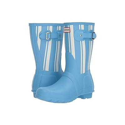Hunter Original Garden Stripe Short Rain Boots (Forget Me Not/White) Women