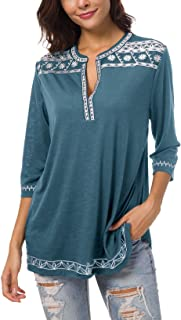 Women's 3/4 Sleeve Boho Shirts Embroidered Peasant Top