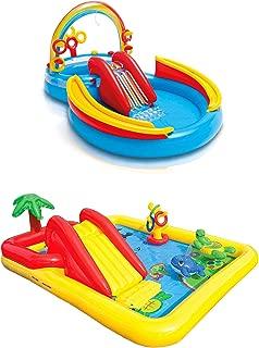 Inflatable Pool Water Play Rainbow Ring Center Slide Games Kids | 57453EPIntex Inflatable Ocean Play Center Kids Backyard Kiddie Pool w/Games | 57454EP