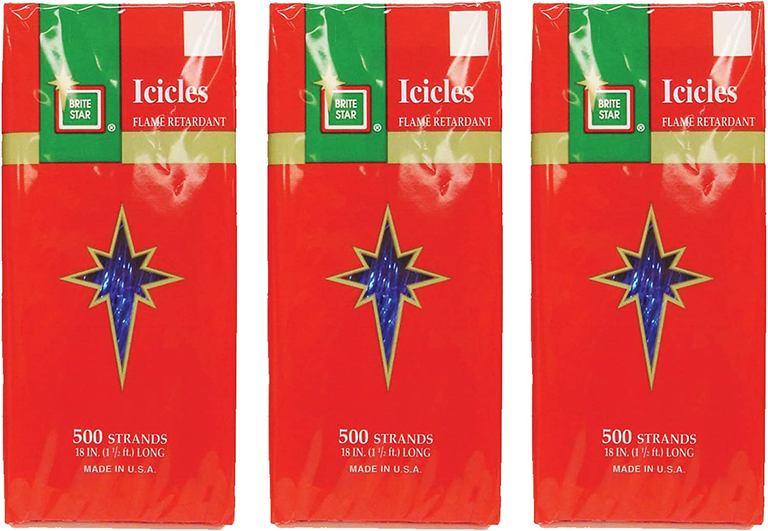 Never Opened New Old Stock Made in the USA Plastic icicles for Christmas tree by Brite Star 500 strands 18 inches long