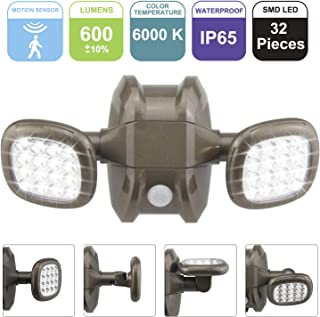 BIGLIGHT Motion Sensor Light Outdoor Battery Operated, IP65 Waterproof Wireless Outdoor Security Flood Light Sensor Auto On Off for Porch, Patio,Stairs Garage, 6000K White, Brown(1Pack)