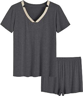 Women's V-Neck Tops and Boxer Shorts Pajamas Set
