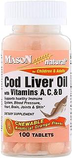 Mason Natural Chewable Cod Liver Oil with Vitamins A, C, D, Orange Flavor, 100 Tablets