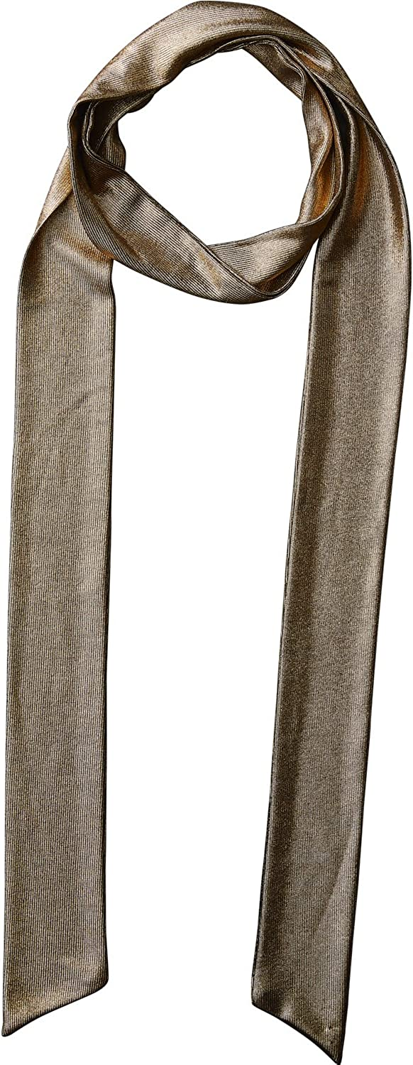 Tickled Pink Accessorie's Long Lightweight Metallic Skinny Chic Neck Tie Fashion Scarf