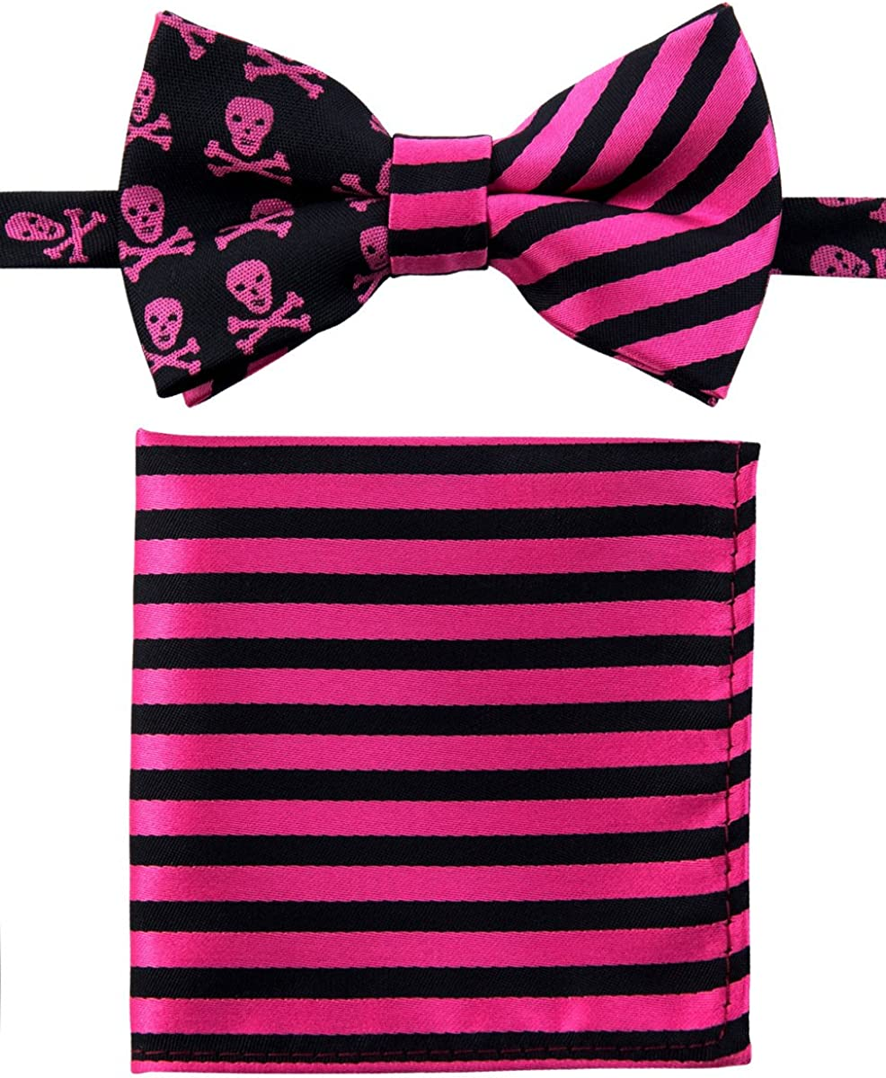 Canacana Cool Funky Skulls Pre-tied Boy's Bow Tie with Stripes Pocket Square Set