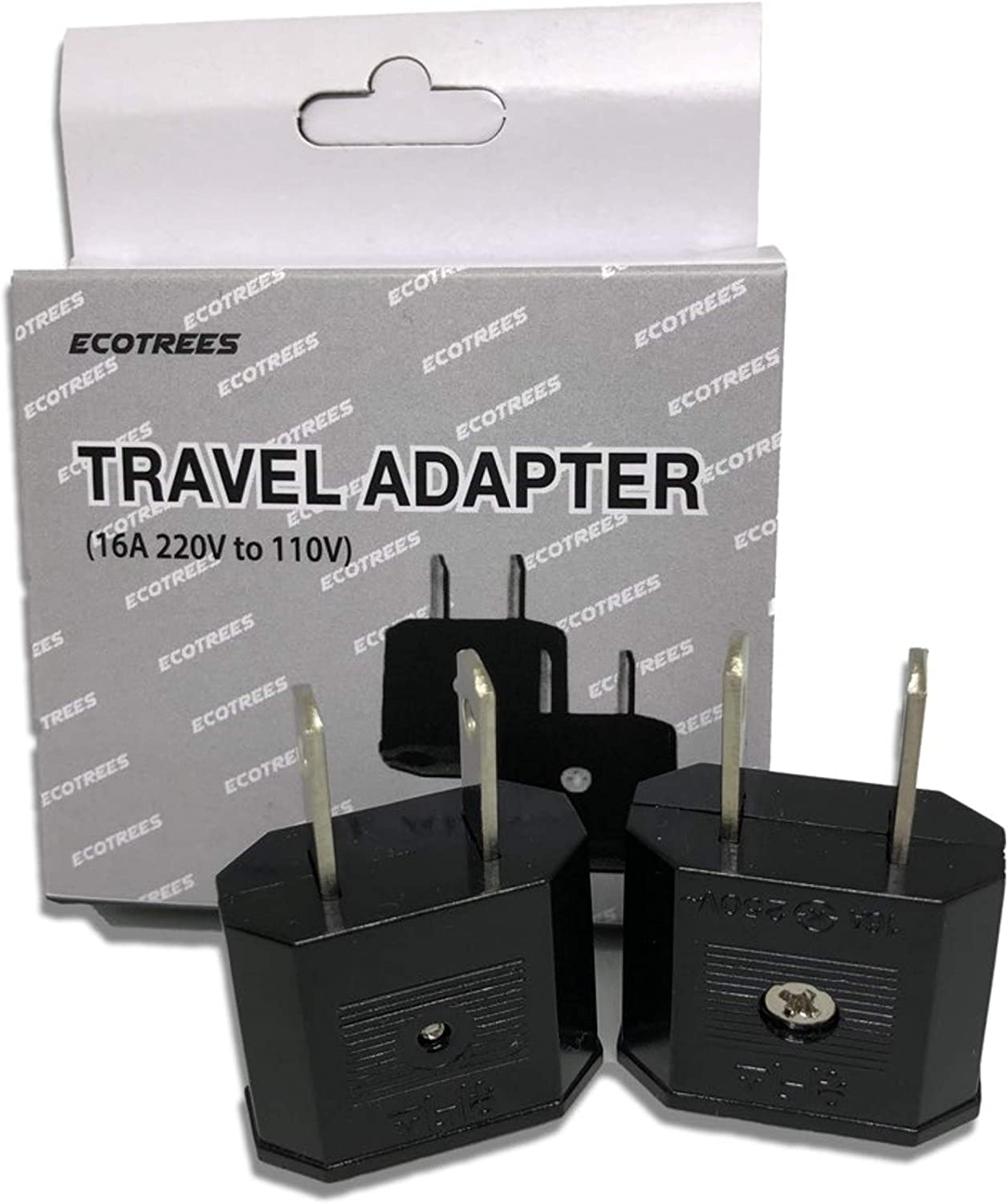 Ecotrees Travel Adapter 220v to 110v Travel Adapter Set of 2/220 to 110 Travel Adapter Set of 2