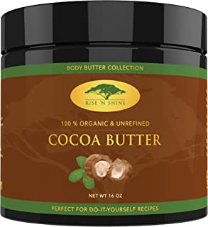 Unrefined Organic Cocoa Butter Raw/Food Grade Perfect for Skin Care, Keto Snacks, Lip Balm, Body Lotion, Stretch Mark Cream, Bar Soap, Body Butter, Hair Care, Cacao Butter Soap Making Base (16 oz)