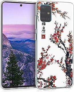 kwmobile Funda Compatible con Samsung Galaxy A51 - Carcasa de TPU y Flores Chinas en Rojo/Negro/Blanco