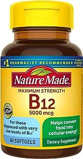 Nature Made Maximum Strength Vitamin B12 5000 mcg Softgels, 60 Count