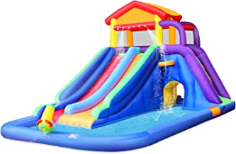 BestParty Inflatable Kids Water Slide, Pool Water Slide for Toddler, Bouncy Splash Park for Outdoor Fun, with Blower