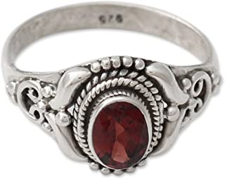 Garnet .925 Sterling Silver Cocktail Ring, Traditional Romantic'