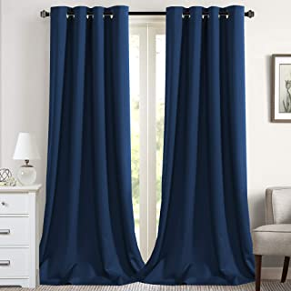 Flamingo P Blackout Curtains Thermal Insulated for Patio Door Room Darkening Patio Curtains Winow Treatment Extra Long Panel Drapes,Grommet 2 Panels (52 by 108 - inch, Navy)
