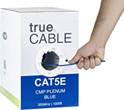Cat5e Plenum (CMP), 1000ft, Blue, 24AWG 4 Pair Solid Bare Copper, 350MHz, ETL Listed, Unshielded Twisted Pair (UTP), Bulk Ethernet Cable, trueCABLE