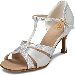 a5b50bebe JIA JIA 20519 Latin Women's Sandals 2.7'' Flared Heel Super Satin with  Sparkling Glitter