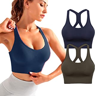 Sports Bra for Women,Criss-Cross Back High Impact Sports Bras Padded Workout Bras Medium Support with Adjustable