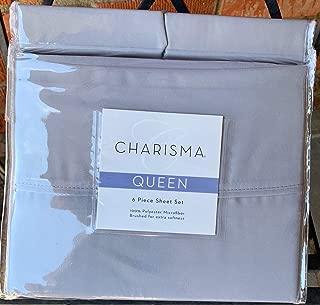 CM Queen Gray Grey Charisma Microfiber 6 Piece Sheet Set for Deep Mattress