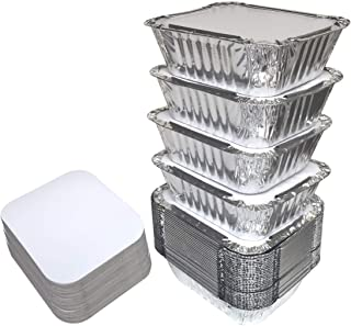 55 PACK - 1LB Aluminum Foil Pan Containers with Lids Take Out Pans Food Containers Disposable Easy Pack From Spare – 1Lb Capacity 5.5