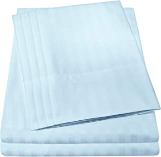 King Size Bed Sheets - 6 Piece 1500 Thread Count Fine Brushed Microfiber Deep Pocket King Sheet Set Bedding - 2 Extra Pillow Cases, Great Value, King, Dobby Light Blue