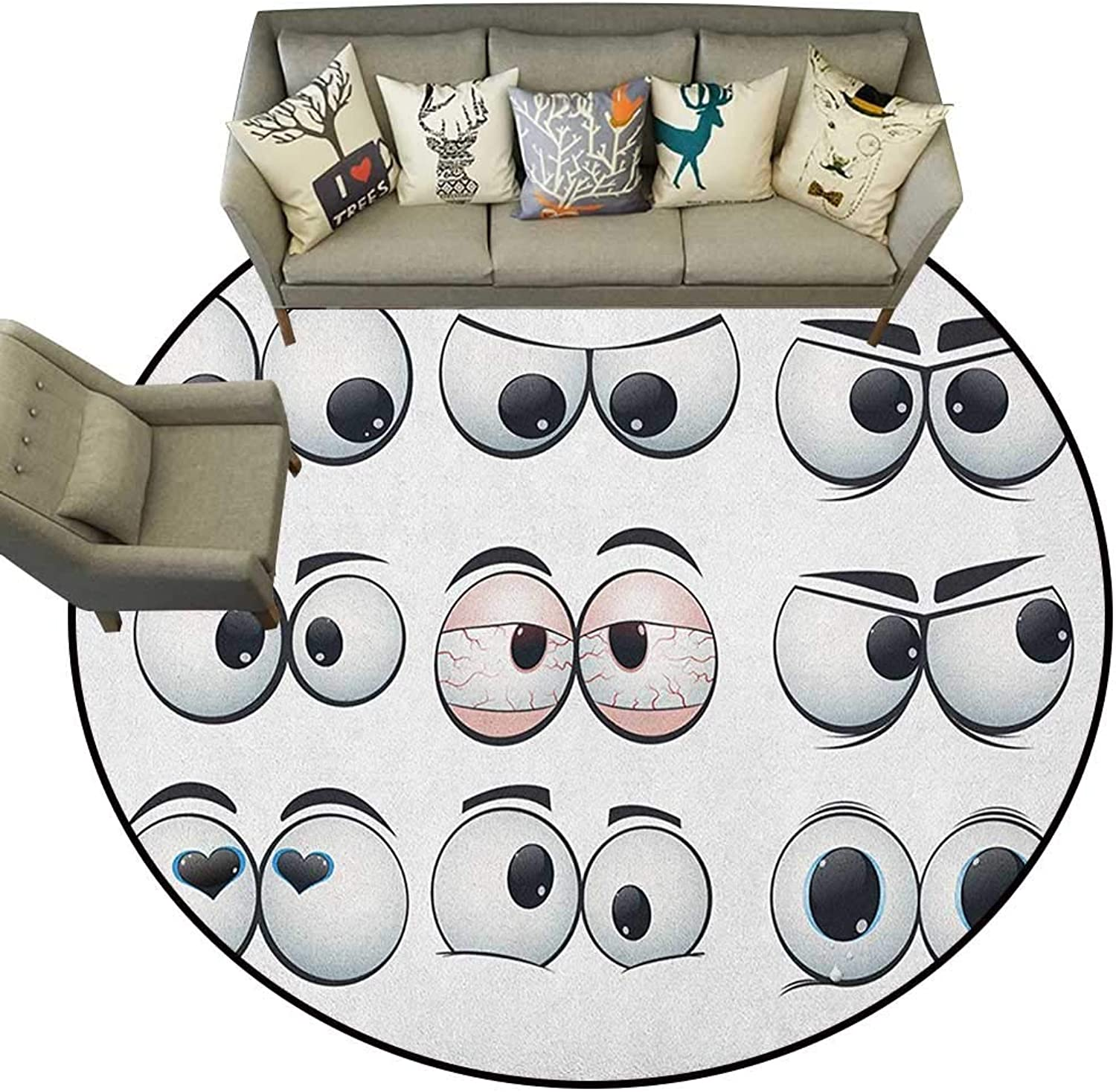 Eye,American Floor mats Collection of Cartoon Expression Eyes Showing Different Emotions and Views D36 Home Bedroom Floor Mats