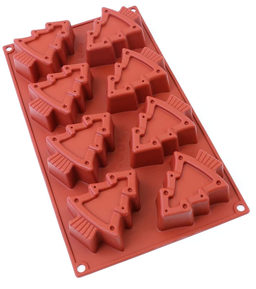 oggibox Christmas Silicone Mold for Muffin, Cupcake, Brownie, Cornbread, Cheesecake, Panna Cotta, Pudding, Jello Shot, Soap and More… (Christmas tree)