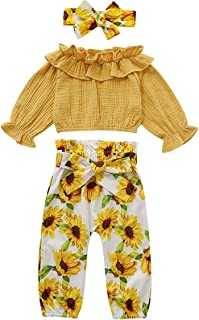 Toddler Baby Girls Sunflowers Outfits Ruffle Collar Top High Waist Long Pant Skirt with Headband Clothes Set