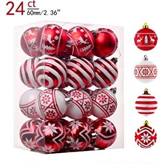 Valery Madelyn 24ct 60mm Traditional Red and White Shatterproof Christmas Ball Ornaments Decoration,Themed with Tree Skirt (Not Included)