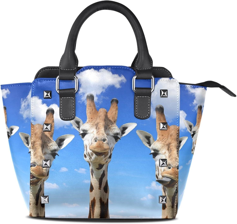 My Little Nest Women's Top Handle Satchel Handbag Funny Giraffes Ladies PU Leather Shoulder Bag Crossbody Bag