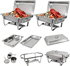 SUPER DEAL 8 Qt Stainless Steel 2 Pack Full Size Chafer Dish w/Water Pan, Food Pan, Fuel Holder and Lid For Buffet/Wedding...
