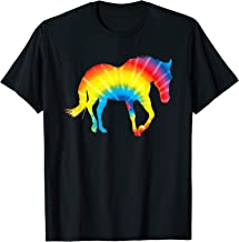 Tie Dye Horse Rainbow Print Hare Mare Pony Hippie Peace Gift T-Shirt