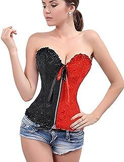 Beauty-You - Corsetto overbust da donna, in raso, bustino con lacci sulla schiena