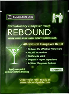 Rebound Hangover Patch 6-Day Supply Pack - Made in USA (6 Patches) - $7.99 - Organic Vegan - Sugar, Latex, Gluten Free