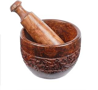 Rusticity Indian Sheesham Antique Mortar & Pestle Grinder Set for Kitchen/Vintage Rustic Handcarved Spice & Herbs Crusher Bowl/Handmade Decorative Round Manual Kharal Smasher, 4 x 4 in