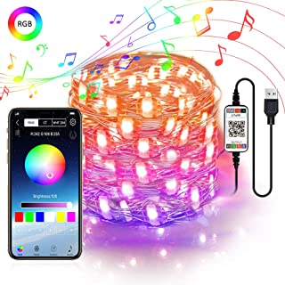 Abtong Fairy String Lights USB Powered 5M 16.4ft Color Changing LED Fairy Lights with APP Sync Music Starry Lights Bluetooth Plug in RGB LED String Light Waterproof Wire String Light for Bedroom Patio
