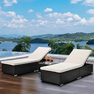 Outdoor Rattan Chaise Lounge Set with Side Table, Patio Furniture Set Reclining Chair with Cushions and Adjustable Backres...