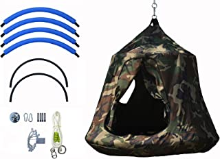 KINSPORY Waterproof Polyster Hanging Swing Hammock Chair with LED Lights Indoor Outdoor for Accommodating 2-3 Children (Ar...