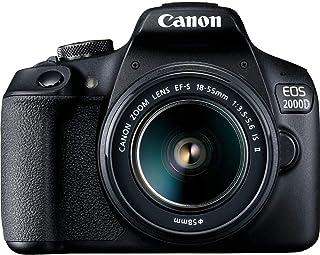 كاميرا دي اس ال ار طراز اي او اس من كانون بعدسات 2000 دي و18-55 اي اس، وبدقة 24.1 ميجابكسل، بلون اسود