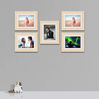 ArtzFolio Wall Photo Frame D539 Natural Brown 8x10inch;Set of 5 PCS with Mount